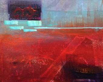 """Original  acrylic abstract painting ,  bold with rich red and blue, canvas, 8x8, """"Transitions"""""""