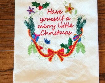 Tea towel, Christmas towel, dish towel, kitchen towel, flour sack, hostess gift, house warming gift , bridal shower, Christmas gift