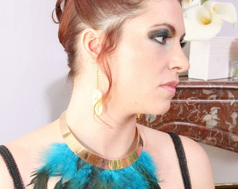 Necklace Plastron ethnic-inspired feathers ►Or and Turquoise◄