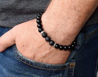 Men's Beaded Bracelets, Men's Bracelet, Men's Energy Bracelet, Black Onyx Bracelets, Lava Bracelet, Black  Bracelet, Men Bracelet Gift