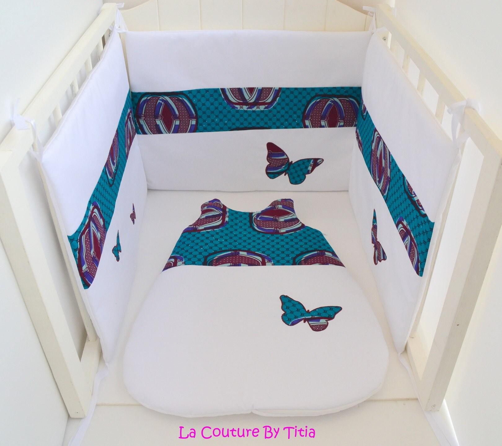 tour de lit et gigoteuse fait main wax papillon turquoise. Black Bedroom Furniture Sets. Home Design Ideas