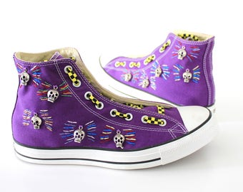 Skull Trinket Custom High Top Sneakers - with handstitched embroidery and stainless steel skull trinkets.