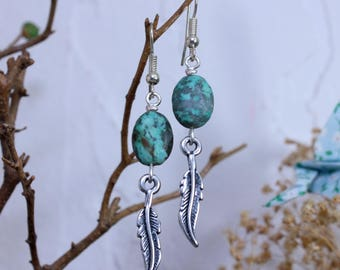 Turquoise and feather charm earrings