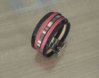 Red, black and Brown Cuff Bracelet