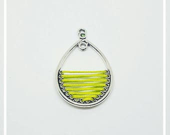 jade wire and metal charm pendant