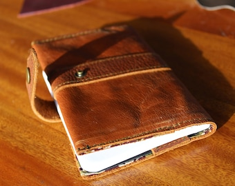 handmade leather journal cover A6 refillable