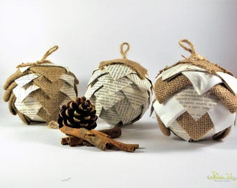 Fabric and paper pinecone Christmas ball ornament-dimensional effect, patchwork, upcycling