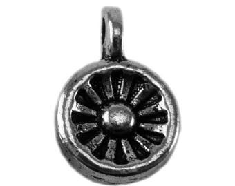 x 10 - 02 - charm - silver color metal round pendant