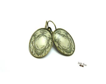 Bohemian lace glass dome earrings retro vintage
