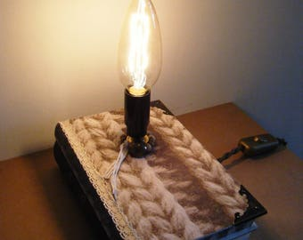 Knitting books, upcycled and unusual diversion lamp