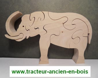 ELEPHANT WOODEN PUZZLE-MAPLE - TRUNK IN THE BACK