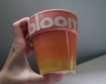 """Hand Painted Indoor/Outdoor Ceramic """"Bloom"""" Planter"""