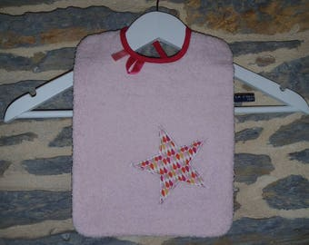 Large (23 * 30 cm) baby bib pink powder and fuchsia