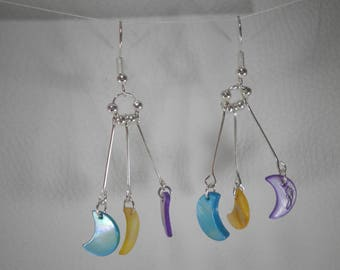 "01971 earrings ""Galactic"" Moon pearl purple, yellow, turquoise"