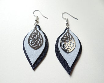 Earrings blue leather light and timeless
