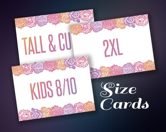 Size Cards, Sizing Cards, Size Tags Sign, Clothing Size, Size Sign, Digital File, Instant Download, Home Office Approved Color&Fonts