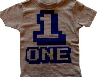 Arcade ONE First Birthday T-Shirt for Boys or Girls, 1st Bday Tee