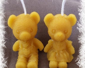 Handcrafted Teddy bear bee wax candle