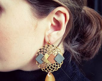 Genuine gold Caramel Tan Leather and Metal Gold (pierced) earrings