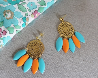 Dangle earrings green and Orange rose (drilled)
