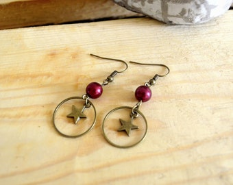 Fashion style - bronze Pearl star earrings earrings Burgundy