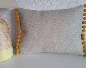 Handmade Light Brown/Beige Herringbone Wool Pom Pom Cushion Cover