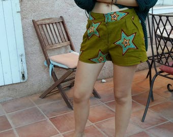 African fabric high waist shorts