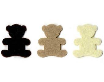 Set of 20 small Cubs fine felt 2.5 x 2 cm, in 3 colors - ARTEMIO
