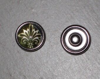 Mini-Bouton pressure for jewelry chunk glass Fleur de lis # 2