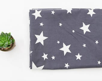 Dark grey stars 100% Cotton Fabric BY HALF YARD / Star pattern / Scandinavian / 158cm wide / Ykfabrics JC8/70+
