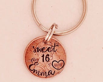 Sweet 16 key ring • Penny • personalized penny • Penny key ring • new driver • 16th birthday • license • Birthday gift