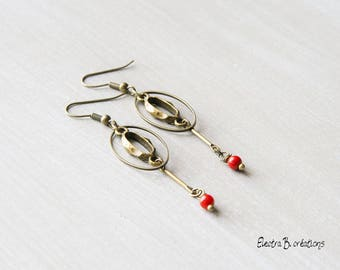 Minimalist red and bronze art deco earrings