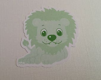 Embellishments - straight cut drawing of Lion - Green