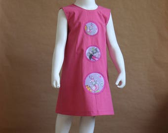 Melusine - Girl 3 years in bright pink cotton dress