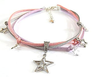 Necklace glitter girl stars ° ° suede