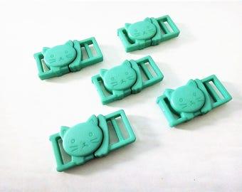 "5 Mint Green Cat Collar Buckles - 3/8"" Cat Head Breakaway Buckles - Cat Collar Parts"