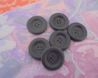 Set of 8 dark grey buttons 30 mm