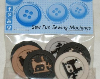 6 novelty buttons - Sewing Machine