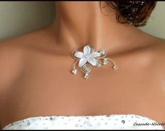 Necklace flower Lena bridal white Crystal aluminium silver Pearl wedding jewelry