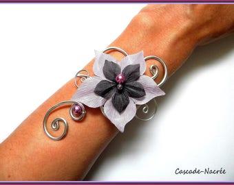 wedding bridal purple grey m aluminium Pearl bridal silk flower bracelet