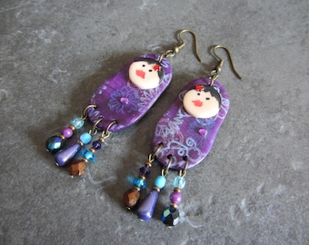 Earrings violet matryoshka by Little Valentine