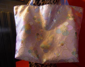 Extra large brocade floral tote bag