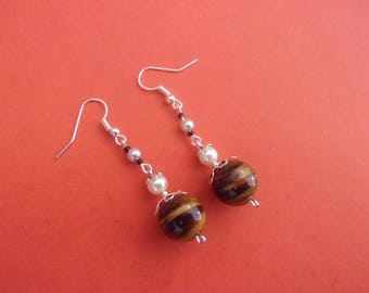 """Earrings """"Tiger eye"""", with glass beads white and gray"""