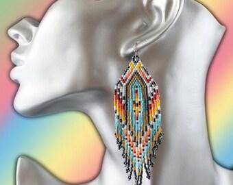 novelty earrings ethnic Native American Navajo novel woven miyuki beads