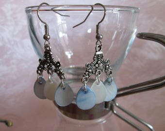 earrings with blue and white drop Pearl sequins water