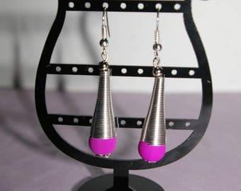 spiral earrings and neon pearl purple
