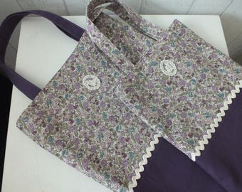 All Tote bag / tote for small and large print flowers in purple.