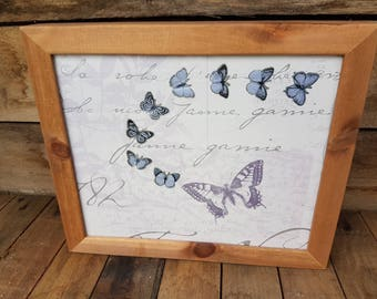 Stunning handcrafted unique framed butterfly picture in lilac