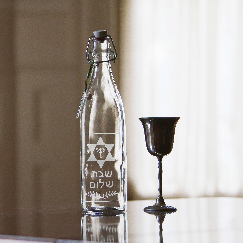 Shabbat Shalom Etched Judaica Glass Decanter Bottle 1 Liter 34 Oz