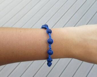 Blue Beaded Woven Bracelet
